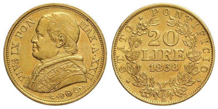 Roma Pio IX 20 Lire 1868 anno ...