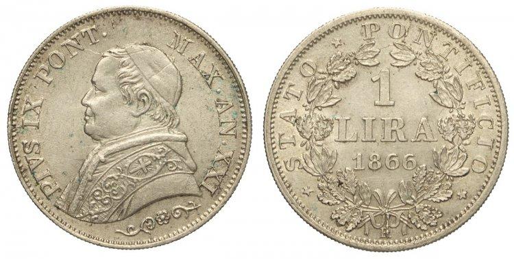 Roma Pio IX Lira 1866 anno ...